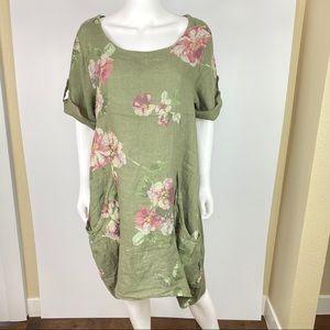 VASNA Sz S Floral Linen Dress